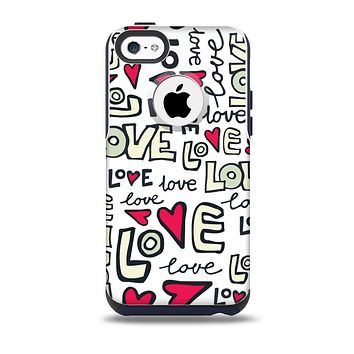 The Love and Hearts Doodle Pattern Skin for the iPhone 5c OtterBox Commuter Case