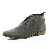 River Island MensDark brown leather chukka boots