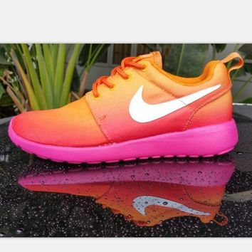 NIKE Roshe Run Print Gradient sports shoes orange-white hook H-MDTY-SHINING