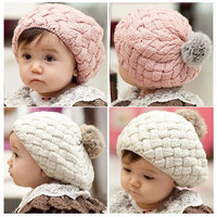 Adorable Baby Girl Knitted Beanie W/Faux Fur Poof