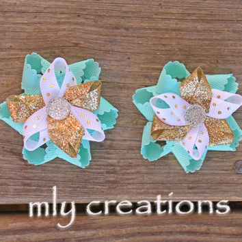 Turquoise and gold Hair Bow,Small Turquoise Flower Hair Bow, loopy bow, baby hair bow, piggies, toddler hair bow, baby headband, aqua bow