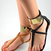 Women's Sandals Flat Gladiator Gold Clrd Ankle Plate Strappy Black Camel
