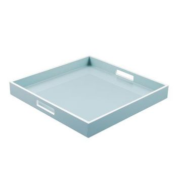 Cool Gray with White Trim Lacquer Square Serving Tray