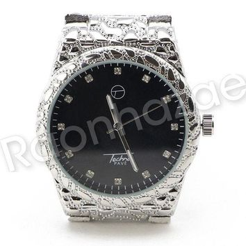 LMFA8C Men Iced Out Bling 14K White Gold Plated Hip Hop Nuggets Black Face Watch F20GS