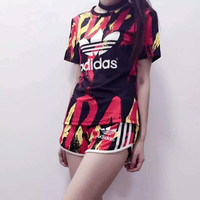 Summer Series Women Adidas Originals Print T-shirt Shorts Two pieces
