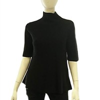 525 America A Line Cotton Shaker Sweater in Black | ShopAmbience