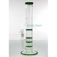 15 Inch Psyclone Stemless Triple Honeycomb and Turbine green Disc Glass Bong Psyclone by SmokeTower.ca