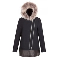 Sandro Manoli Fur Hooded Navy Coat at Sandro US