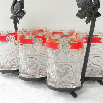 Vintage Indiana Sandwich Glass Rocks Glasses with Caddy, Set of 6, Low Ball Glasses, Old Fashioned Glasses, Barware, Hollywood Regency