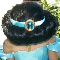 Custom Made Princess Jasmine CROWN from Aladdin HEAD PIECE Sea Foam Green Satin Head Band with Blue Stone Costume Accessory