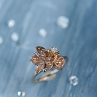 Unique engagement ring, 14K rose gold ring, diamond ring, cherry blossom ring, flower engagement ring, proposal ring, one of a kind ring