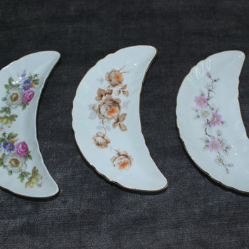 Old Nuremberg Bavaria Germany floral porcelain crescent dish trio, candy dish, nut bowl, trinket dish