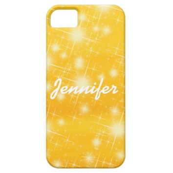 Personalized shining stars on a golden background iPhone 5 cases