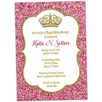 Pink and Gold Princess Baby Shower Invitations - Little Princess Baby Shower Invitation - Royal Baby Shower - Tiara Crown - Elegant Girl