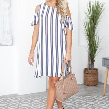 Brittney Stripe Keyhole Cold Shoulder Dress