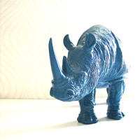 Large Rhinocerous Animal Statue in peacock blue:  office nursery kids room decor home accessory unique gift