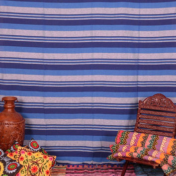 Boho Striped Fabric Tapestry Bedspread, Hand Loomed Queen Bedding, Blue Stripe Fabric, Upholstery Cotton Throw Blanket, Indian Tapestry