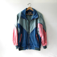 vintage 80s denim coat. Color block jean jacket. Hip Hop Street Wear.