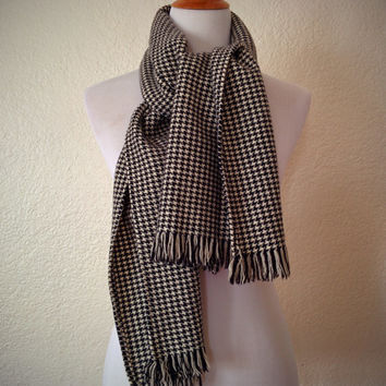Vintage 60's Houndstooth Scarf Wool Black | White with Fringe