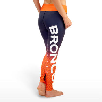 Denver Broncos Leggings Gradient NEW NFL yoga running workout tights pants