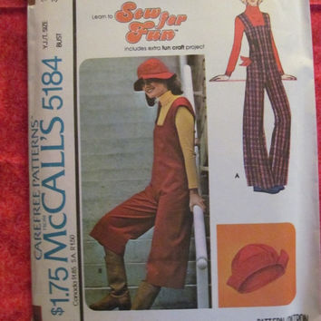 Sale UnCut 1970's McCall's Sewing Pattern, 5184! Size 9/10 Teens/Misses/Jr's/Women's, Jumpers, Jumpsuit, Coveralls, Overalls, Hippie Casual