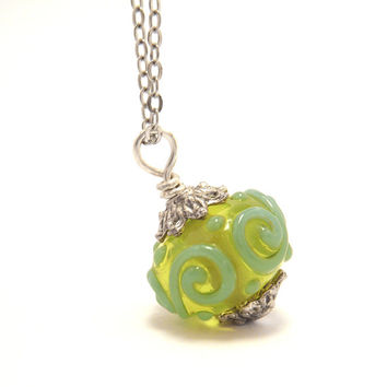 Green Lampwork Necklace - Green Glass Pendant, Handmade Lampwork Bead Necklace - 'Green Lagoon'