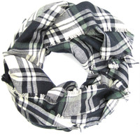 Blanket Scarf Flannel Scarf Plaid Scarf Navy Blue Green Cream Women's Scarf Plaid Blanket Scarf Warm Winter Scarf Teen Scarf Ready To Ship