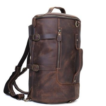 BLUESEBE HANDMADE VINTAGE LEATHER TRAVEL BACKPACK Z106