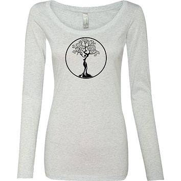 Yoga Clothing For You Black Tree of Life Circle Triblend Long Sleeve Yoga Tee