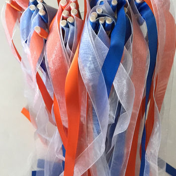 50 Double Ribbon Party Wand Streamers, Wedding or Birthday Party Favors