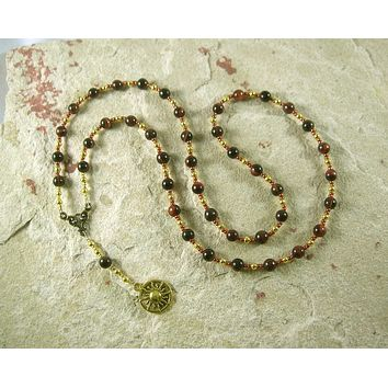 Ra (Re) Prayer Bead Necklace in Red Tiger Eye: Egyptian God of the Sun