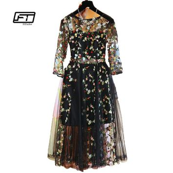 Fitaylor 2017 Summer Women Dress Women's elegant Short Sleeve Tulle Gauze Flower Floral Embroidery Black O-Neck Dress