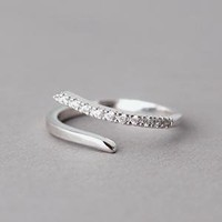 CZ CURVED BYPASS RING WHITE GOLD PLATED SLIPS ON COSTUME JEWELRY  from KELLINSILVER.COM - FASHION JEWELRY SHOP AS ETSY