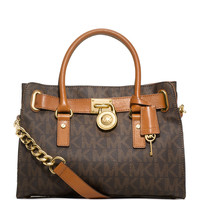 Hamilton MK Logo Satchel Bag, Brown - MICHAEL Michael Kors