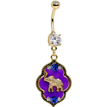 Clear Gem Gold PVD Purple Lucky Elephant Dangle Belly Ring | Body Candy Body Jewelry