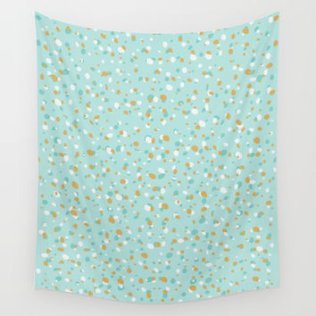 Aqua Turquoise Terrazzo Wall Tapestry by printapix