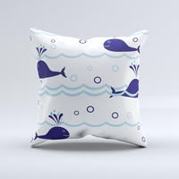 Navy Blue Smiley Whales  Ink-Fuzed Decorative Throw Pillow