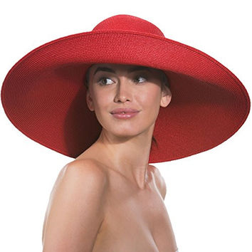Eric Javits Designer Women's Headwear Floppy Hat (Red)