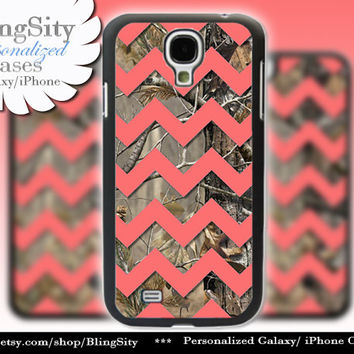 Camo Coral Chevron Galaxy S4 case S5 Real Tree Camo Deer Personalized Monogram Samsung Galaxy S3 Case Note 2 3 Cover