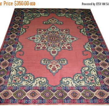 ON SALE Vintage Turkish Oushak Rug With Medallion 83 x 64inches Free Shipping