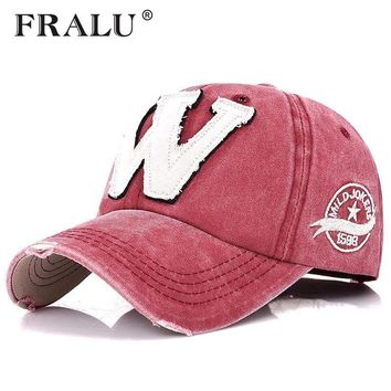 Trendy Winter Jacket FRALU Cotton Embroidery Letter W Baseball Cap Snapback Caps Bone casquette Hat Distressed Wearing Fitted Hat For Men Custom Hats AT_92_12