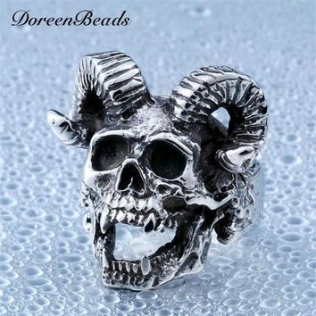 DoreenBeads Punk Goat Head Skull Ring For Men Stainless Steel Jewelry Fashion Vintage Mens Personality Animal Skeleton Rings