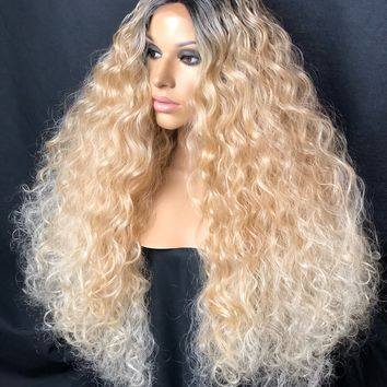 Blonde Ombre Platinum White Curly Human Hair Blend Lace Front Wig