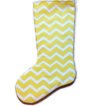 Yellow Chevron Stocking, Yellow Chevron, Chevron Christmas Stocking, Christmas Stocking