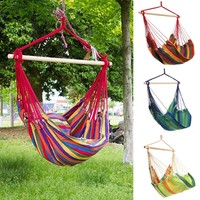 Outdoor Cotton Striped Hanging Hammock Rope Chair Porch Swing Seat Camping Ship From USA (Color: Multicolor)