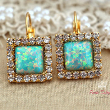 Mint green Opal Drop earrings with white rhinestones, bridesmaids jewelry,wedding earrings, drop earrings- 4k gold plated swarovski earrings