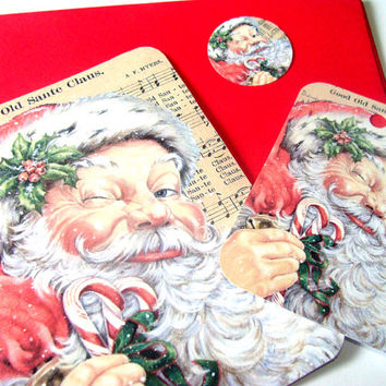 Vintage Inspired Christmas Flat Card Set Includes Flat Card Tag And Sticker/Envelope Seal