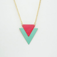 Minimalist Geometric Triangle Chevron Necklace - Mint Green And Coral Pink Hand Dyed Modern Brass Jewelry  - Gold Plated Chain
