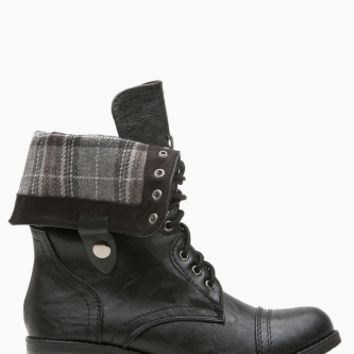 Black Faux Leather Plaid Print Combat Boots @ Cicihot Boots Catalog:women's winter boots,leather thigh high boots,black platform knee high boots,over the knee boots,Go Go boots,cowgirl boots,gladiator boots,womens dress boots,skirt boots.