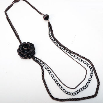 Long Antiqued Copper and Black Triple Chain Necklace with Large Antiqued Copper and Black Flower Pendant Handmade by Lindsey